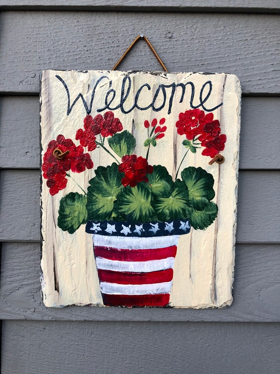 Independence Day Door Hanger, Spring decor, Painted Slate, Summer Door Decor, Door hanger, Fourth of July decoration, Spring welcome Sign