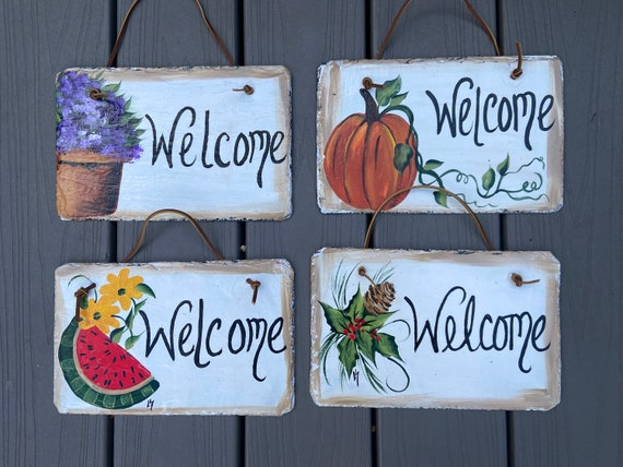 Set of 4 Hand Painted Slate Welcome Signs for 4 seasons, Painted slates, Slate signs, slate welcome signs, Slate plaques, painted slate