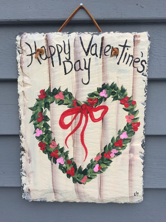 Sale-Valentine Wreath, Heart Wreath, Valentines Day Wreath for front door, Valentines door decor, 12 x 8 recycled roof slate, Welcome sign