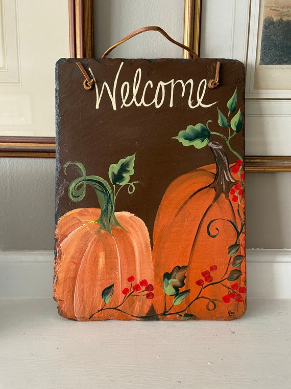 Thanksgiving Slate plaque, Pumpkin slate tile, Fall door hanger, painted slate, slate sign, painting on slate, porch decor, welcome sign