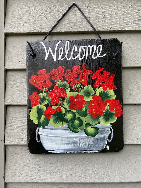 Hand Painted Slate sign, Geranium Welcome sign, Front door Slate, Slate Sign, door hanger, Slate plaque, Slate welcome plaque, painted slate