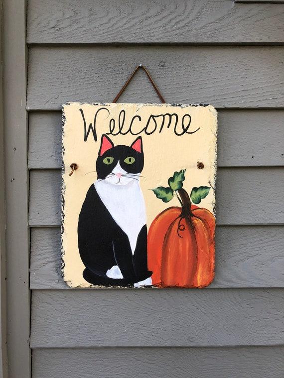 Fall Painted slate welcome sign, Slate welcome sign, Fall door decoration, Pumpkin slate, welcome sign, Fall decor, Painted slate, Cat lover