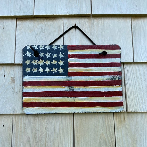 Fourth of July slate sign, Patriotic slate sign, American Flag plaque, Porch decor, American Flag, Painted slate, slate sign, Porch decor