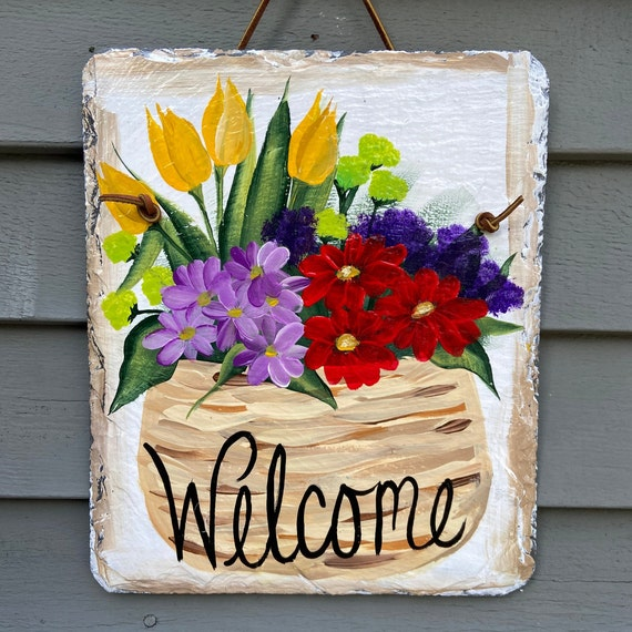 Painted slate sign, Spring door decor, Slate sign, Slate welcome sign, welcome plaque, spring door hanger, Spring sign, garden decor