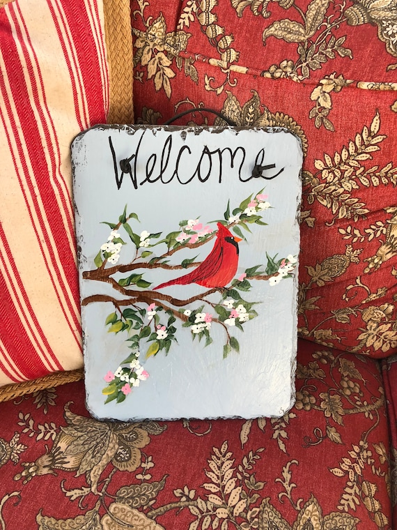 Welcome sign, Spring Door Decor, Painted slate, Red Cardinal Welcome sign, Porch decor, Outside spring decoration, Summer door hanger