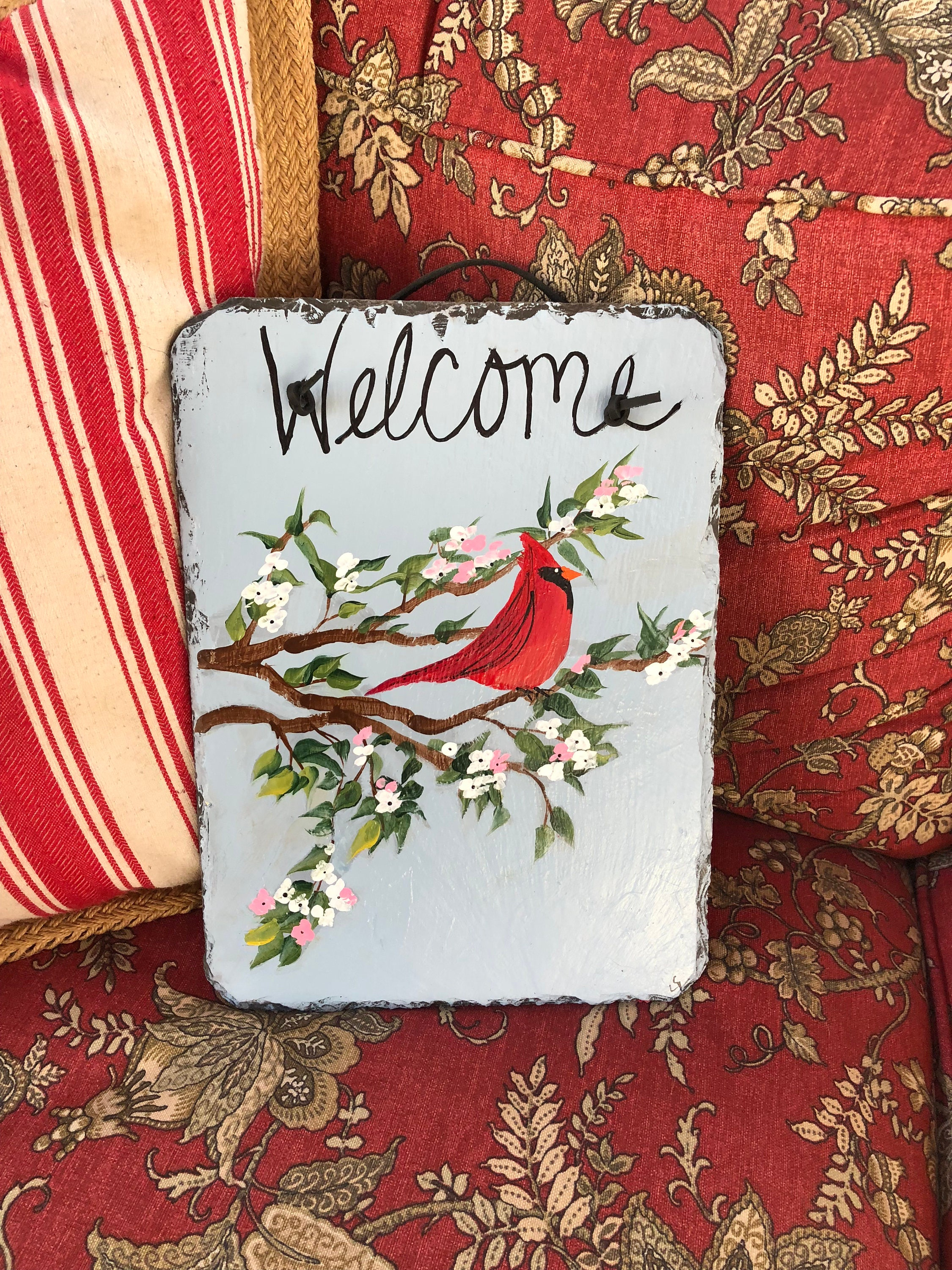 Red Cardinal Welcome Sign Spring Door Decor Cardinal Spring