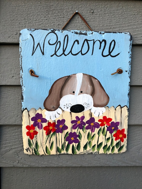 Spring Slate Sign, Painted Slate welcome sign, Spring door hanger, Dog welcome sign, Spring door decor, Welcome plaque, Dog Lovers