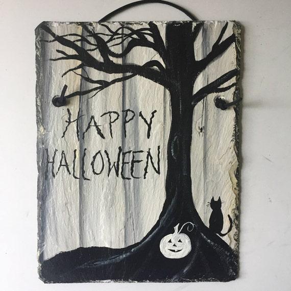 Happy Halloween Slate Door hanger, Halloween decorations, Halloween decor, Black Cat wall hanging, Black & White Halloween sign