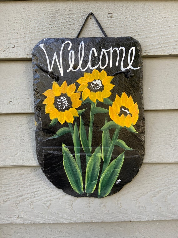 Sunflower painted Slate plaque, slate tile, Fall door hanger, painted slate, slate sign, painting on slate, porch decor, welcome sign