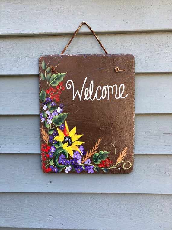 Hand Painted Fall slate welcome sign, Sunflower door hanger, Fall door decoration, sunflower decor, Garden decor, welcome sign, Fall decor