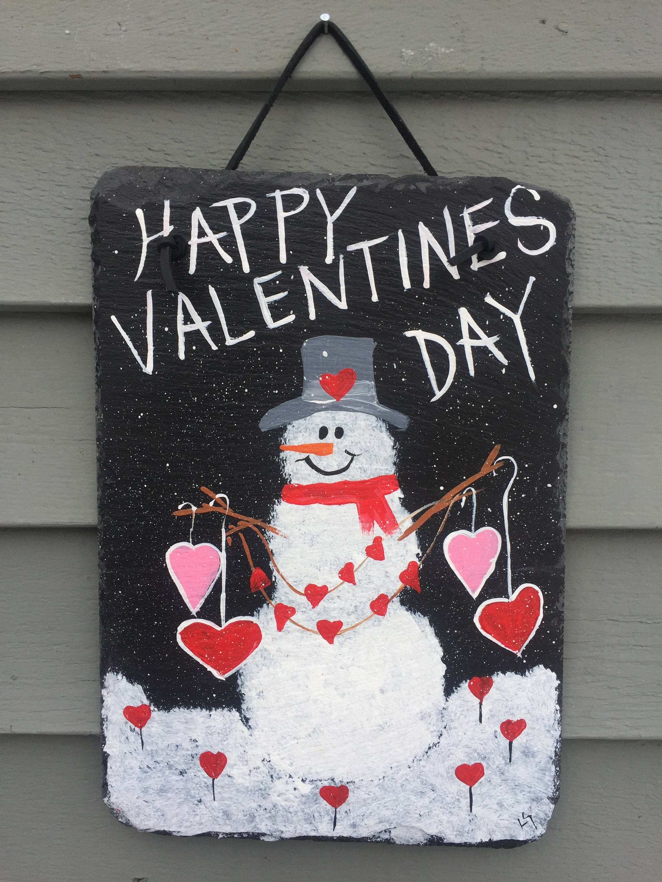 Valentines Day Snowman Slate Heart Door Hanging Front Door Decor Painted Slate Plaque  Recycled Roof Slate Welcome Sign