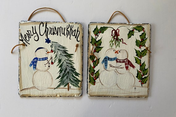 Holiday Slate sign, Winter slate sign, slate tile, Slate Sign, door hanger, Hanukkah slate, Slate plaque, Merry Chrismukkah slate plaque
