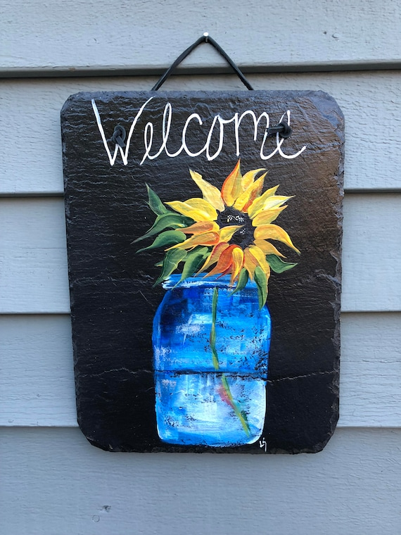 Outdoor Fall decor, Sunflower Slate Welcome Plaque, Fall sign, Painted slate, Slate sign. Autumn sign, Welcome sign, Front Door decoration