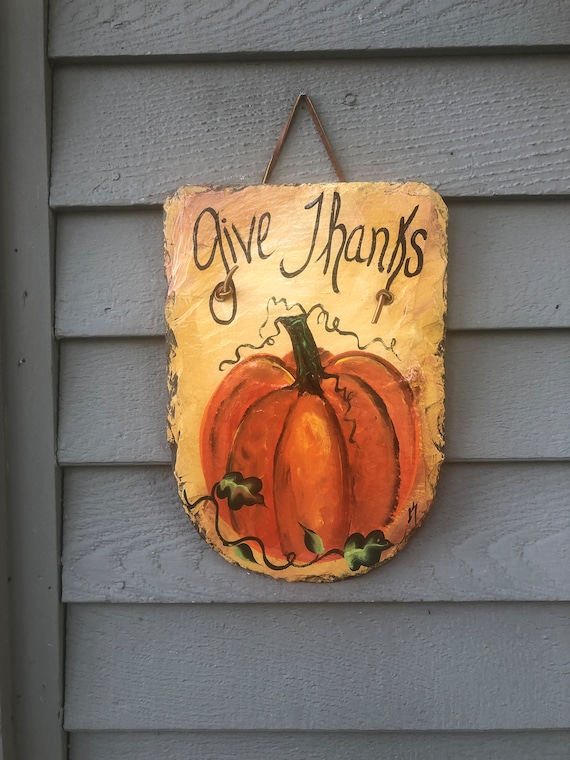 Thanksgiving decor for your door, Give Thanks slate sign, Autumn door hanger, Fall door decor, welcome sign, Fall decor, Painted slate