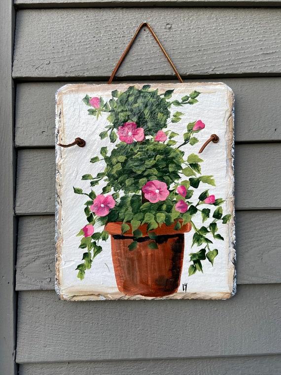 Hand Painted Slate sign, Spring Welcome sign, Front door Slate, Hibiscus Slate Sign, door hanger, Spring slate, Slate welcome plaque