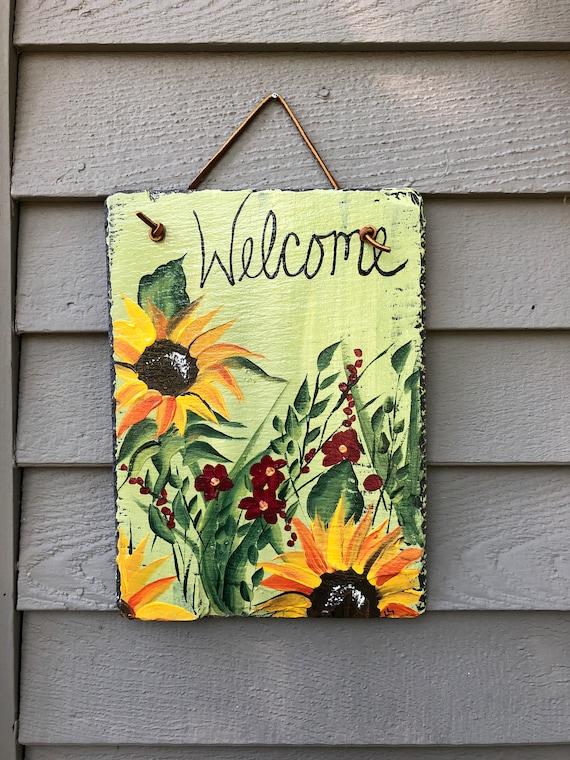 Plaque de bienvenue ardoise peinte à la main, accroche-porte tournesol, la décoration de porte automne, décor tournesol, décoration de jardin, signe de bienvenue, décor d'automne