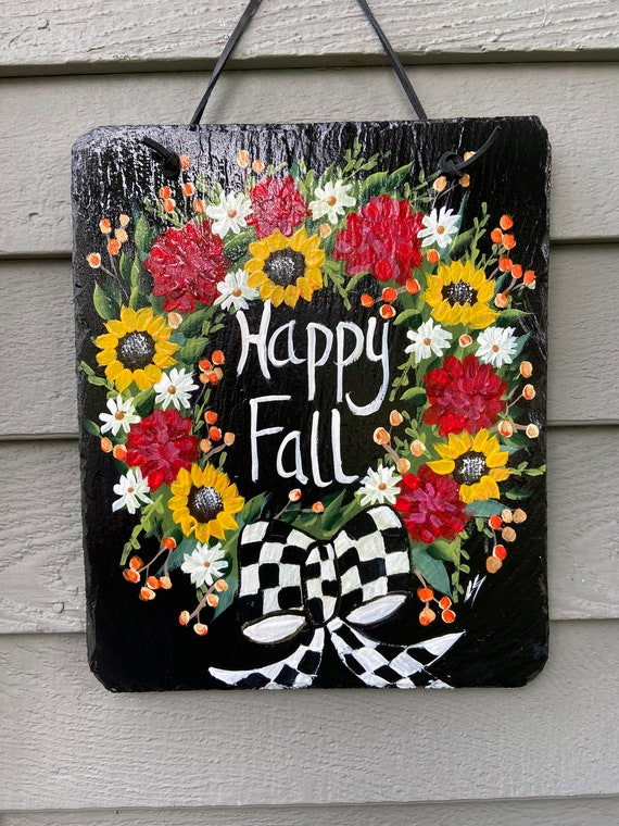Fall wreath slate sign, Black and white check, Painted slate tile, welcome plaque, door hanger, Fall sign, welcome sign, Painted slate