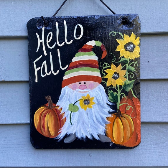 Painted slate, Pumpkin Slate plaque, Fall sign, Porch Decor, Fall decor, Slate welcome sign, slate sign, Fall door hanger, Painting on slate