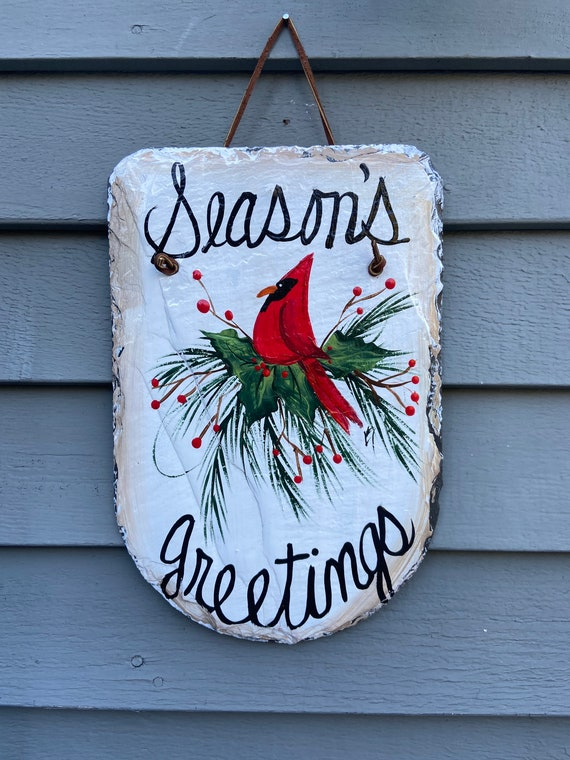 Winter Cardinal welcome Sign, Winter slate sign, Christmas sign, Painted Slate, Slate welcome sign for winter, Red Cardinal welcome plaque