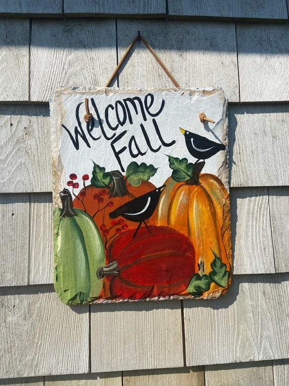 Pumpkin & crow welcome sign, Fall slate plaque, welcome plaque, door hanger, Fall sign, welcome sign, Halloween slate sign, Fall porch decor