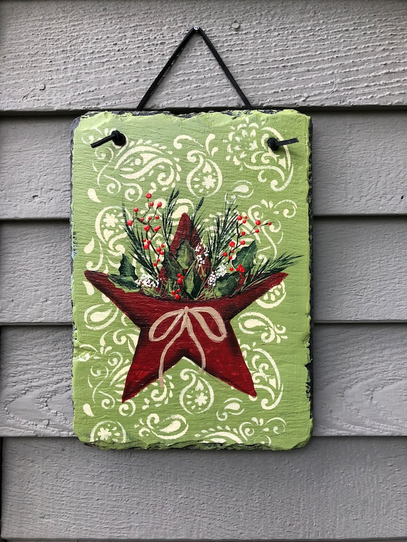Painted slate sign, Christmas slate sign, christmas door hanger, Outside Christmas decoration, Winter painted slate, Christmas decor