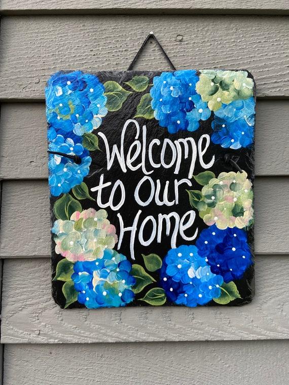 Hand Painted Slate Welcome Sign, Spring door hanger,  Slate plaque, Garden decoration, outdoor decor, deck decor, painted slate, hydrangeas