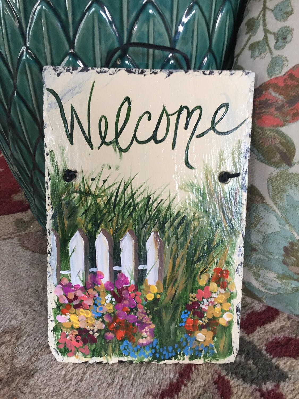 Superb Spring Painted Slate Welcome Sign Spring Door Hanger Door Handles Collection Olytizonderlifede