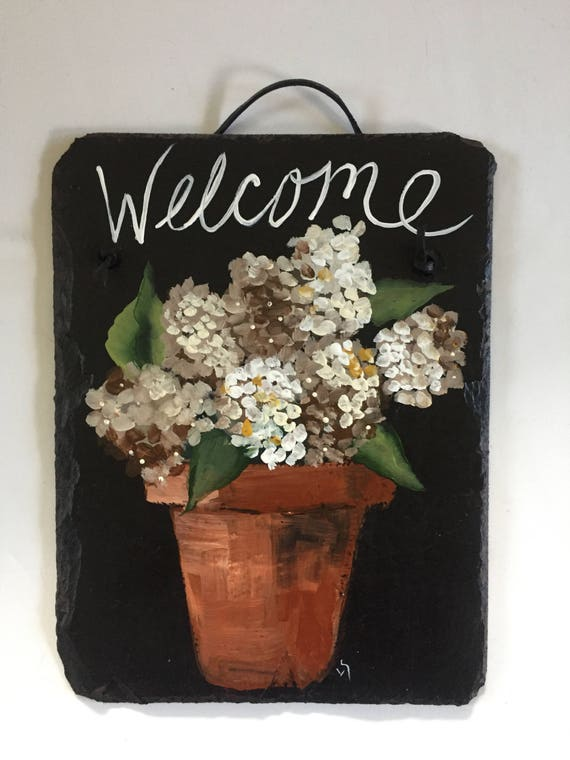 Hydrangeas Slate Welcome sign, Painted Slate, Spring door hanger, Welcome sign, Porch Decor, Slate sign, Mother's Day Gift, spring decor