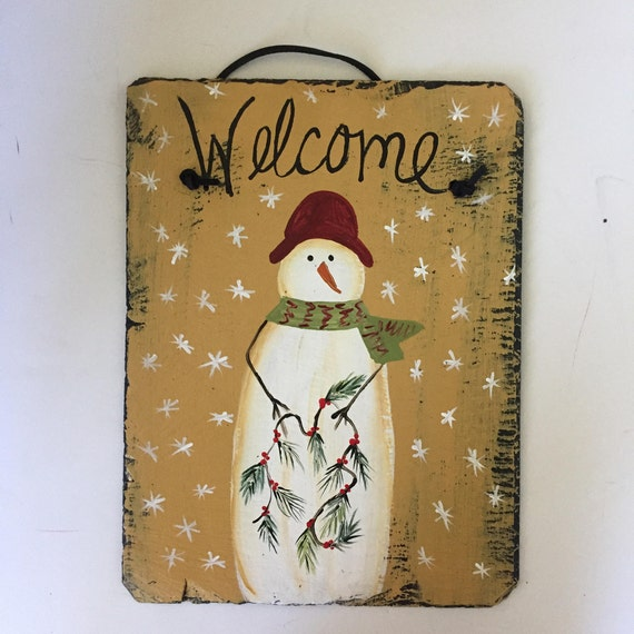 painted slate sign, Welcome sign, winter welcome sign. winter door hanger, winter slate, winter door decoration, painted snowman sign