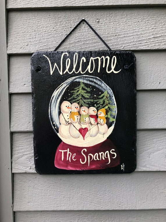 Personalized Slate sign, slate welcome sign, Primitive snowman sign, painted slate, welcome sign, winter welcome plaque, winter door hanger