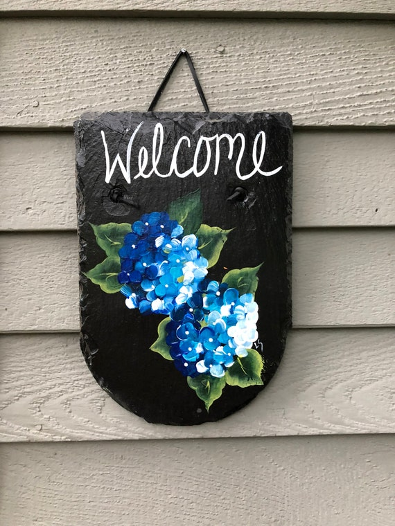 Hydrangea welcome sign, Porch decor, Painted slate sign, Garden decor, garden sign, slate welcome sign, welcome plaque, summer door hanger