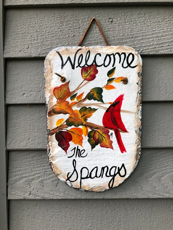 Personalized Fall door decor,  Fall Painted Slate, Fall Porch Decor, Cardinal slate Door hanger, Autumn welcome sign, Thanksgiving decor