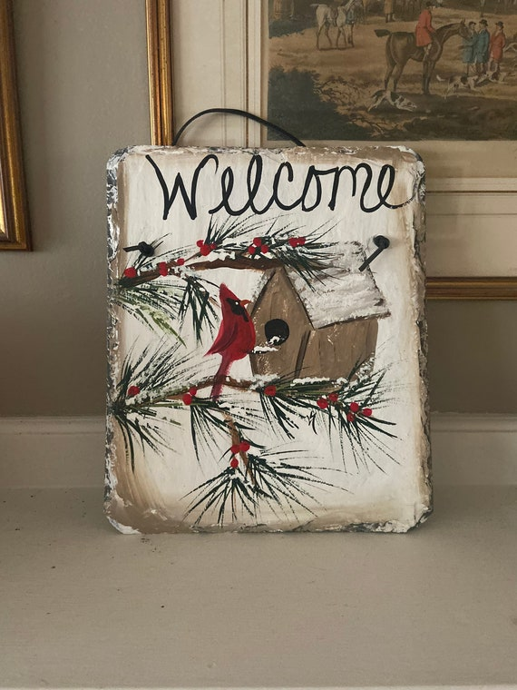 Hand Painted Slate sign, slate sign, Winter Welcome plaque, slate welcome sign Winter Slate Sign, winter door hanger, cardinal slate tile