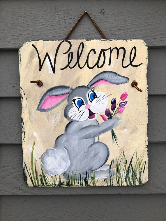 Easter Bunny door decor, Painted Slate welcome sign, Easter Decorations, Welcome Sign, Easter Door hanger, door hanger, Spring welcome sign