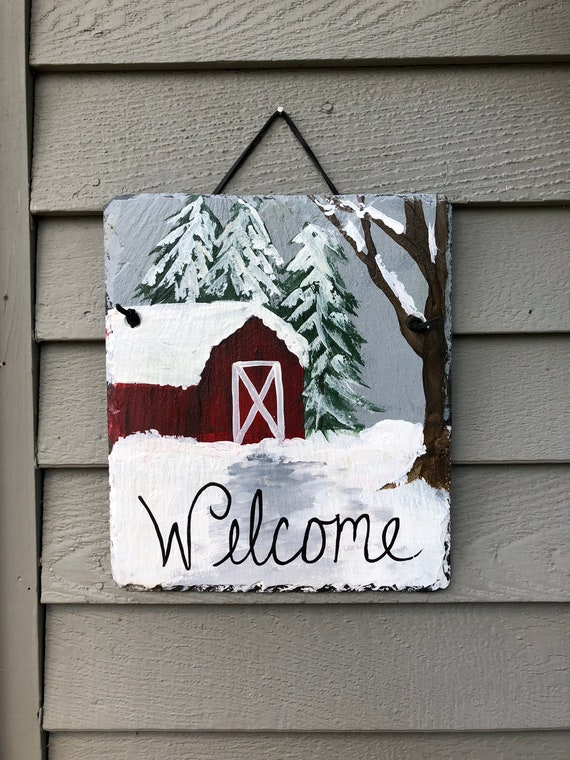 Winter Welcome sign, Painted slate welcome sign, Winter door hanger, Winter Scene Slate Door hanger, welcome sign, Door hanging