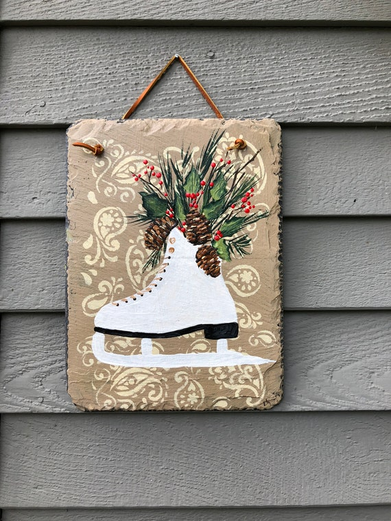 Winter slate sign, Winter sign, Painted slate, Winter decor for porch, Hand Painted Slate, Holiday door hanger, Christmas decor, slate sign