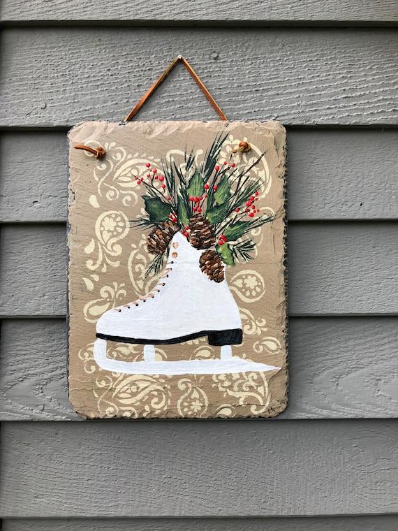 Winter slate sign, Winter decor for porch, Winter Ice Skate Slate Door hanger, Hand Painted Slate, Holiday door hanger, Christmas decor