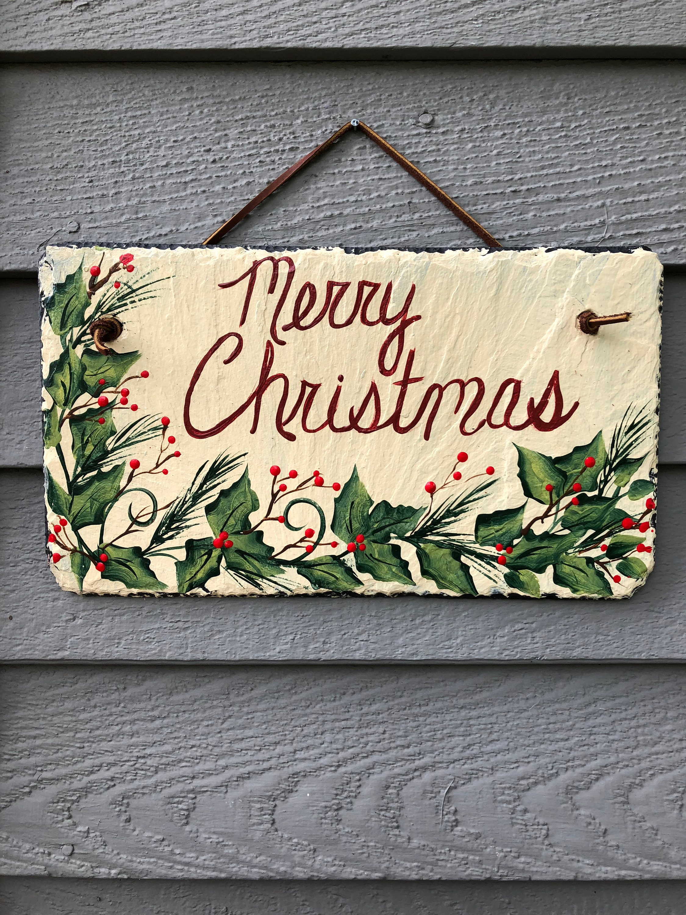 merry christmas door decor christmas sign christmas painted slate door hanger holiday decoration outside christmas decoration