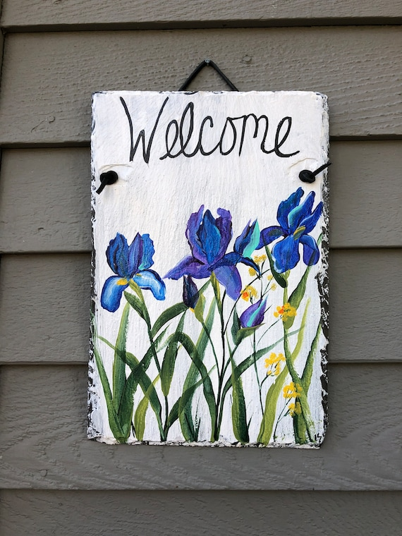 Blue Irises Welcome Sign, Floral door decor, Hand Painted slate, Door hanger, garden decoration, Spring door decoration, summer door hanger