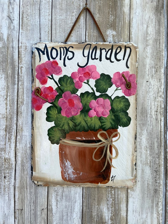 Mothers Day gift, Slate Plaque, Hand Painted Slate Welcome Sign, Welcome sign, deck decor, Porch decor, Door decor, painted slate sign