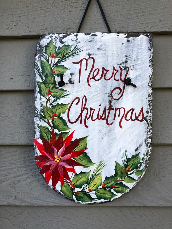 Merry Christmas Sign, Merry Christmas door decor, Christmas Painted Slate Door hanger, Holiday decorations, Outside Christmas decoration