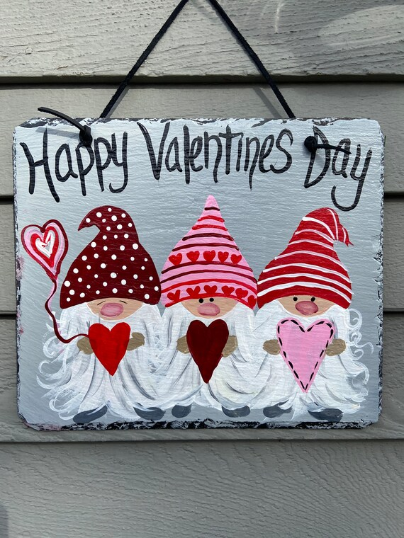 Valentine's Day slate sign, Valentine's Day door hanger, Valentine outdoor sign, Valentine's Day decor, Slate Sign, Painted slate sign