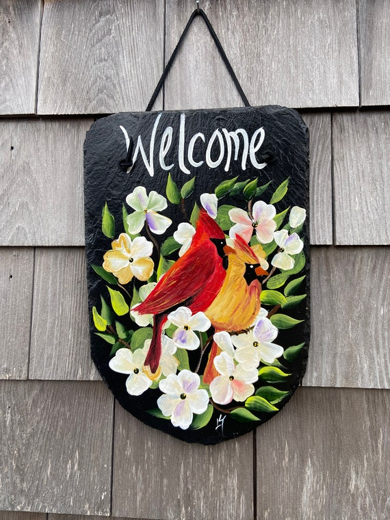 Cardinals Slate sign, garden decor, Cardinal welcome sign, Painted slate, Birds Slate sign, Spring door hanger, welcome plaque, deck decor