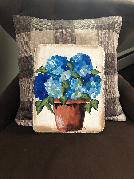 Blue Hydrangeas Slate Welcome sign, painted Slate, WElcome plaque, Door hanger, Welcome sign, door sign, Spring garden decor, Spring decor