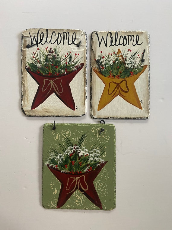 Christmas Slate plaque, Winter slate sign, Painted slate tile, Slate Sign, door hanger, Christmas slate, Slate plaque, Slate welcome plaque