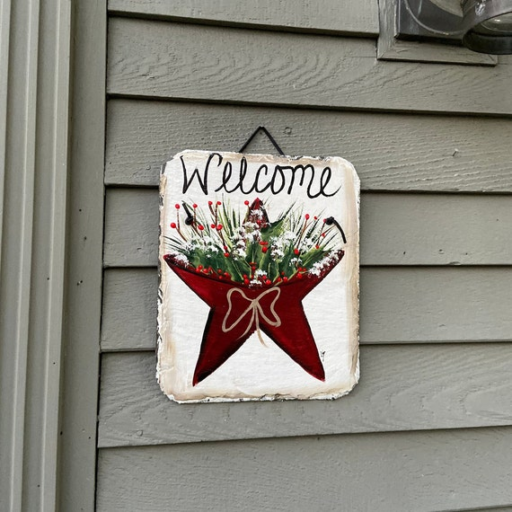 Winter slate sign, Winter Plaque, Painted slate sign, slate sign, Christmas door decor, winter door hanger, Welcome sign, slate welcome sign