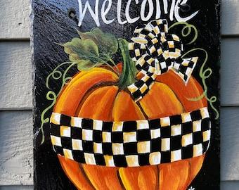 Painted slate tile, black & white check pumpkin welcome plaque, door hanger, Pumpkin slate sign, Painted slate, slate sign, Fall sign