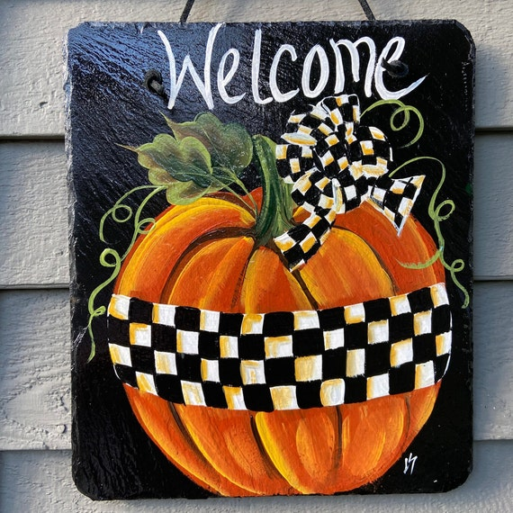 Painted slate tile, black & white check pumpkin welcome plaque, door hanger, Pumpkin slate sign, Painted slate, slate sign, Fall sign