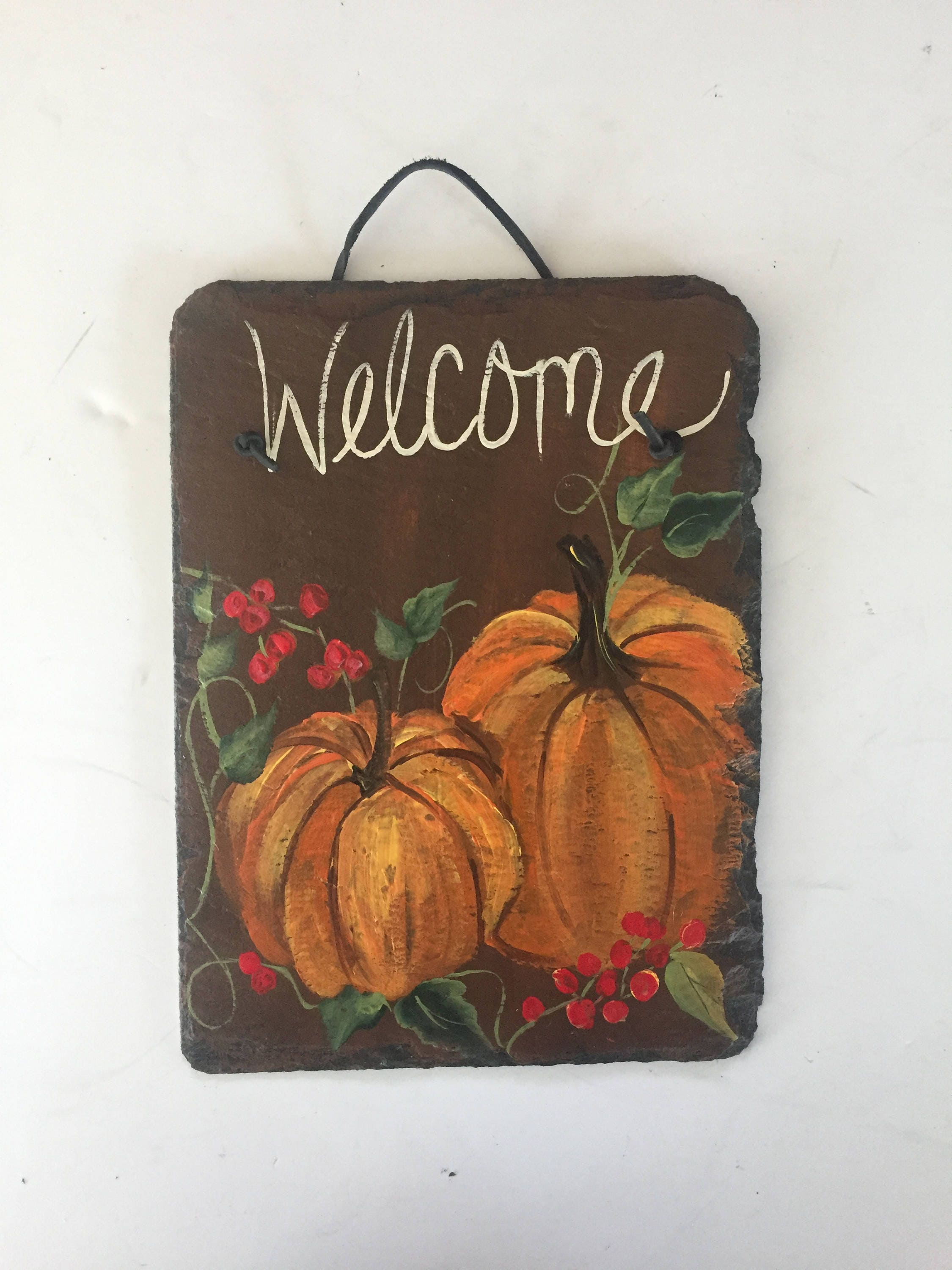 Pumpkins Welcome Sign Fall Porch Decor Country Chic Slate Door Hanger Decorations Autumn Thanksgiving