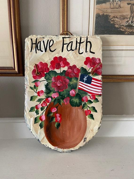 Patriotic Slate sign, Supportive gift, Summer slate sign, Spring door hanger, Hand painted Slate, Slate sign, Summer sign, Painting on slate